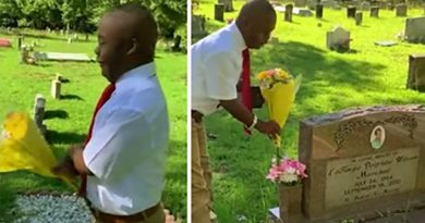 """This Boy With Special Needs Visits Mom's Grave To Tell Her """"I Did It. I Graduated"""""""